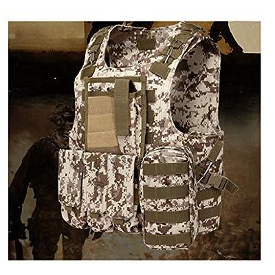 GRZP Taktische Weste, Outdoor-Ausrüstung Desert Camouflage Army Fan Combat Vest Weste mit Molle-Systemzubehör