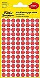 Avery Zweckform 3589 Markierungspunkte (ablösbar, 416 Stück, Papier matt, Durchmesser 8 mm) 4 Blatt rot