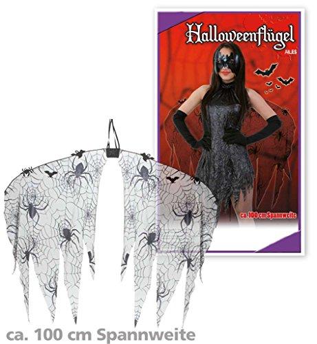 Halloweenflügel, Flügel für Erwachsene, schwarz, Spinnen-Design, (Rio Kostüme Halloween)