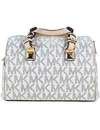 a08df395ef82 Michael Kors MD Grayson Satchel Handbag Signature MK Vanilla PVC with Cross  Body Strap