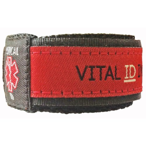 Vital ID Medical Armband, Gummi, rot, 20.3