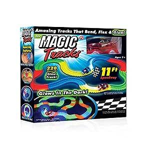 Passdeal Car Magic Tracks Bend Flex Night Glow Running Car Toy for Kids Gifting - 11 Feet