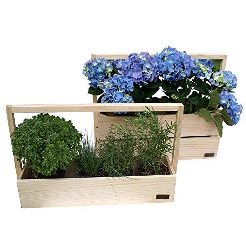 Liza line set di 2 fioriere in legno di pino con manici, stile vintage industriale, rettangolari. vasi per fiori, piante ed erbe - 53 x 19 x 43 cm, 53 x 14 x 33 cm (naturale – finitura opaca)