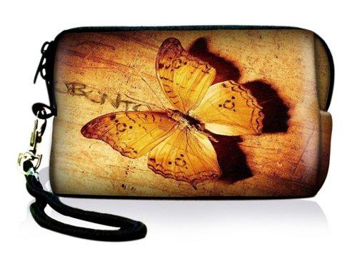 Luxburg® Design Universal Kameratasche Hülle Sleeve Case für kompakte Digitalkamera, Motiv: Vintage Schmetterling