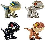 Jurassic World Dinobocazas, Pack de 4 dinosaurios de juguete para...
