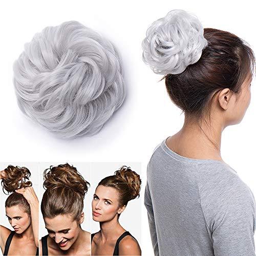 Chignon capelli extension elastico finti ponytail hair extensions toupet donna coda di cavallo posticci ricci 40g, grigio argento