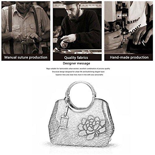 H&S Portafoglio delle signore del sacchetto di spalla del sacchetto del messaggero del sacchetto del messaggero della borsa della borsa delle donne Blu in rilievo