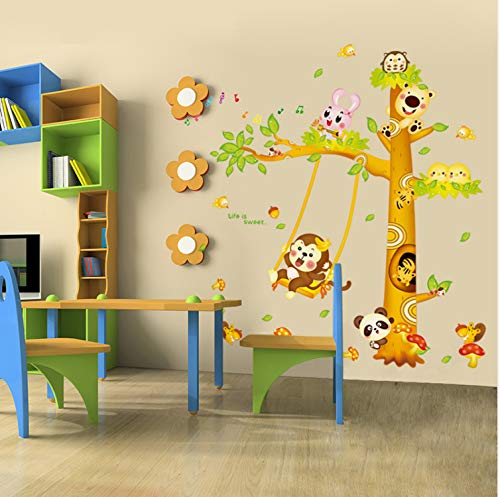 XQWZM Cartoon Tree Wall Stickers PVC DIY Monkey Panda Rabbit Animal Wall Decals for Baby Rooms Kindergarten Decoration