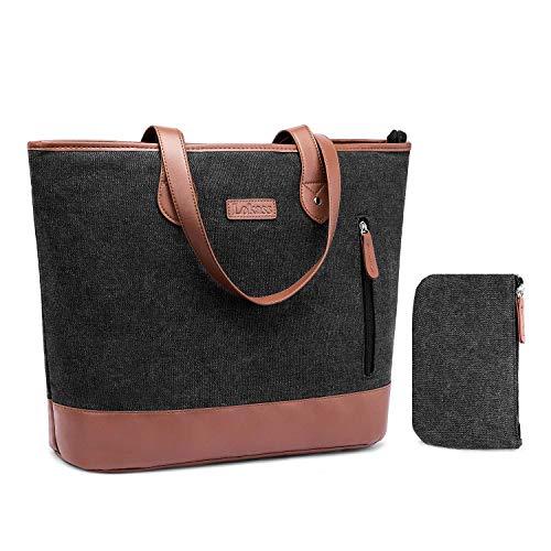 FOSTAK Damen Handtasche Umhängetasche Aktentasche Messenger Bag Reisetasche Shopper Frauentasche Schultertasche Tote Bag Businesstasche Arbeitstasche Laptoptasche für 15 Zoll Laptop,Canvas Schwarz -