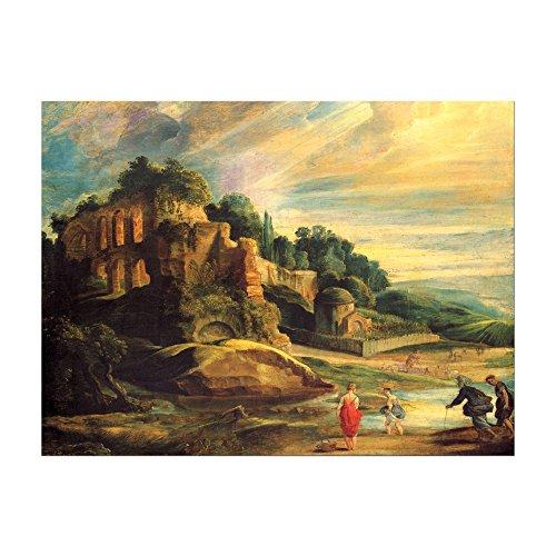 Bild ohne Rahmen - Peter Paul Rubens Landschaft mit den Ruinen des Hügels Palatin in Rom 40x30cm ca. A3 - Kunstdruck Poster Alte Meister