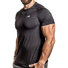 NATURAL ATHLET Modal T-Shirt Herren kurzarm mit rundhals besonders Atmungsaktiv tailliert Slim Fit für Sport Fitness Freizeit und Gym Aktivität Baumwolle Elasthan in schwarz