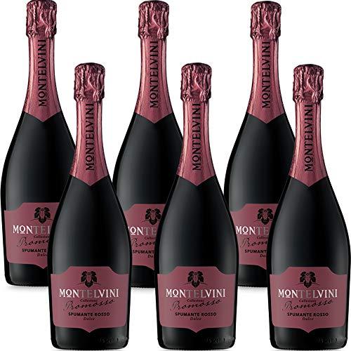 Spumante Rosso Dolce | Promosso Montelvini | Brachetto | 6 Bottiglie 75Cl | Bollicine Veneto | Idea Regalo
