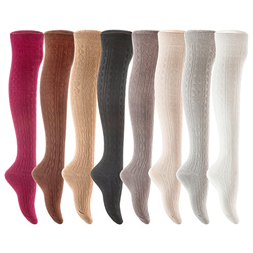 Lovely Annie Women's 4 Pairs Over Knee High Thigh High Cotton Socks JMYP1024 Size UK 3-8/EUR 36-39