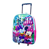 Kids Trolley Cabin Bag Suitcase with Wheels and Telescopic Handle - Ideal for short breaks, holidays, sleepovers and school trips (Minnie Mouse)