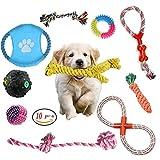 Corde Jouets pour Chiens-10pcs Ensemble de jouet pour chien balle rebondissante avec corde tressée,Coton Jouets à Mâcher Durables pour Petits Moynne et Grande Chiens