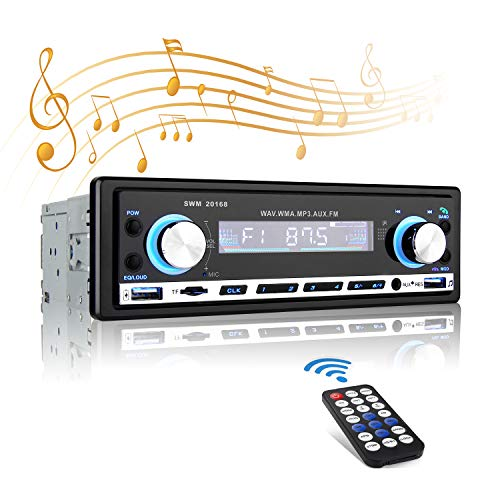 Autoradio Bluetooth Car Stereo,MEKUULA Digitaler Mediaplayer 4x60W 1din, Bluetooth Autoradio für Auto In-Dash 2 USB/TF / FM/Audio Freisprecheinrichtung mit Fernbedienung ohne Kabel (Dvd Bluetooth Car Stereo Alpine)