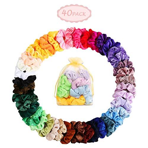 Haar Scrunchies - 40 Stück Samt Scrunchies Elastisch Bobbles Haargummis Samt bunte Haarbändern Hairtie für Damen Haarschmuck (Colorful StyleC) Haar Scrunchies