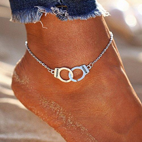 Yesiidor Fußkettchen Damen Silber Kugel Fußketten Doppel Ring Fuß Ketten Sommer