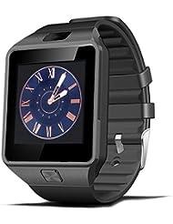 CoolFoxx Bluetooth Reloj Inteligente, DZ09 Reloj de Pulsera Multifuncional, funcionando Universal GSM / Bluetooth 4.0 / Anti-perdida Rastreador/ Mensaje / Llamada / Cámara / Tarjeta SIM / Podómetro / Reproductor de música / Calendario / Cronómetro, sincronización con IOS y Android (negro)