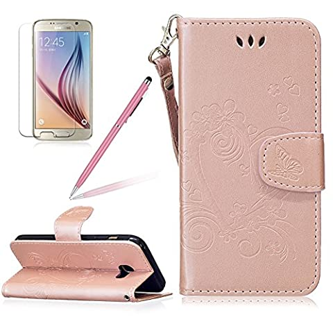 Girlyard Lederhülle für Samsung Galaxy A5 (2017) A520F Wallet Flip Case, Elegant Liebe Herz Schmetterling Blumen Muster Schutzhülle mit Lanyard Strap Handyhülle Standfunktion Karteneinschub und Magnetverschluß Etui -- Rose Gold