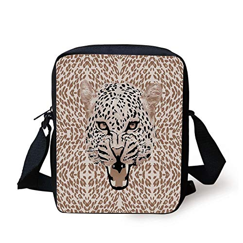 Modern,Roaring Leopard Portrait with Rosettes Wild African Animal Big Cat Graphic,Cocoa Beige Black Print Kids Crossbody Messenger Bag Purse Leopard Rosette