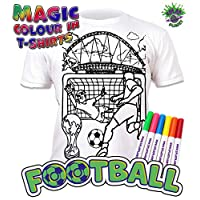 Splat Planet Colour-in Football T-Shirt with 6 Non-Toxic Washable Magic Pens - Colour-in and Wash Out T-Shirt