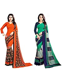 Queen Of India Women's Faux Georgette Multi Color Printed Combo Saree With Blouse Piece (Combo Of 2_1299_1212_...