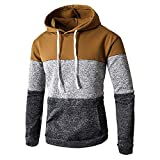 OSYARD Herren Hoodie Sweatshirt Oberteile, Männer Kapuzenpullover Herbst Winter Casual Langarm Slim Fit Pocket Hooded Bluse Top Shirt Sport Kapuzenpullis Patchwork Pulli Hemd Tunika Pullover