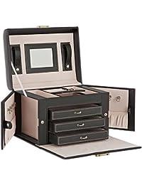 DAILYDREAM® Caja Joyero exclusivo maletín portajoyas alhajera en negro con 3 cajones y otros extras