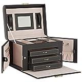 DAILYDREAM® Esclusivo portagioie scatole per gioielli in nero con 3 cassetti e ulteriori extra