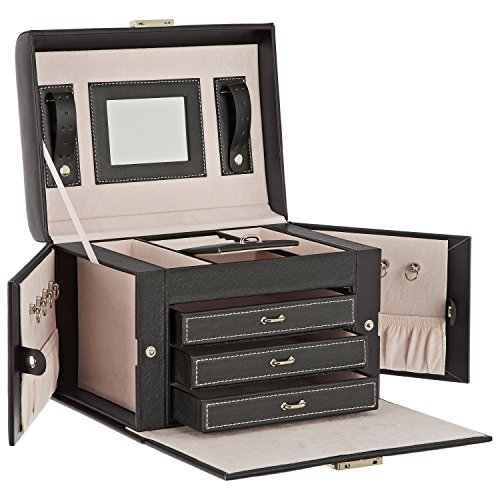 DAILYDREAM® Exklusives Schmuckkästchen Schmuckkasten in schwarz mit 3 Schubladen und weiteren Extras