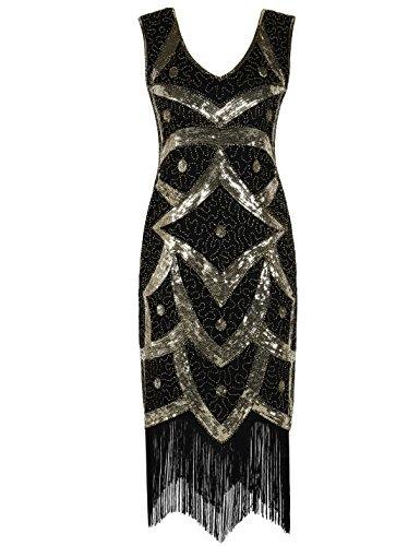 PrettyGuide Damen 1920er Vintage Pailletten Fransen Cocktail Charleston Kleid S Gold Flapper 20s Fringe