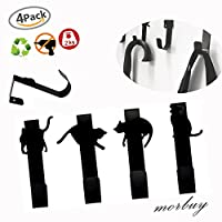 Over Door Hooks, Morbuy 4PC Cute Cat Design Organizer Over Cupboard and Drawer Hooks Hanger Black Metal Space Saving for Office Kitchen Cabinet Draw Clothes