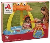 Jilong Crab Pool Ø 100 x 95 cm cm Kinderpool mit aufblasbarem Boden Planschbecken mit Sonnenschutz-Dach Schwimmbad im Krabbe Design Kinder Schwimmbecken für Garten und Terasse