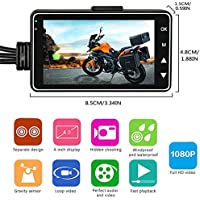 KOBWA Driver's Action Camera, Motorbike Recorder DVR Motor Dash Cam with IP68 Waterproof Specialized Dual-track Front Rear Camera