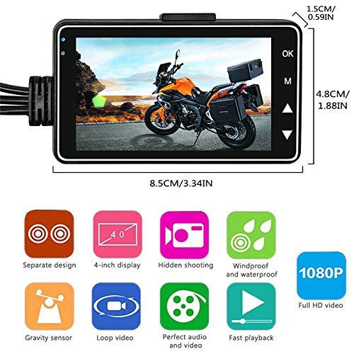 KOBWA conducente Action Camera Moto registratore DVR Motore Dash Cam con IP68Impermeabile Specialized Dual-Track Fotocamera Anteriore Posteriore