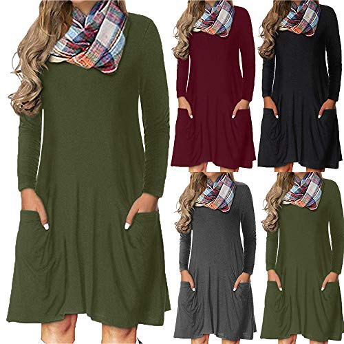 IZHH Damen Kleider Frauen Casual Langarm O-Ansatz Solid Color Fashion Warm Minikleid Mit Tasche Outdoor-Party-Kleid...