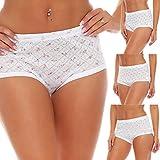 4er Pack Damen Slips Unterwäsche Unterhose Taillenslips Baumwolle weiß geblümt mit Muster