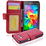 Cadorabo - Funda Samsung Galaxy GRAND PRIME (G5308W) Book Style de Cuero Sintético en Diseño Libro - Etui Case Cover Carcasa Caja Protección con Tarjetero en ROJO-INFIERNO