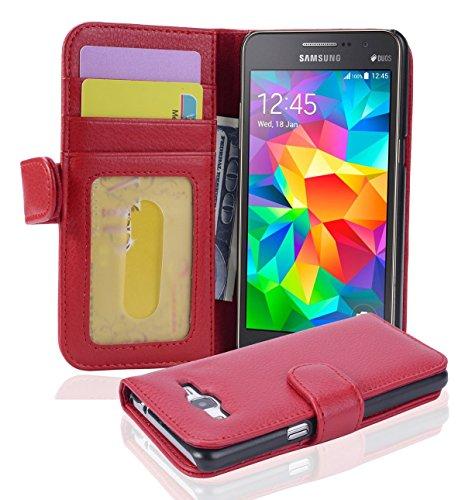 Cadorabo Hülle für Samsung Galaxy Grand Prime - Hülle in Inferno ROT – Handyhülle mit 3 Kartenfächern - Case Cover Schutzhülle Etui Tasche Book Klapp Style