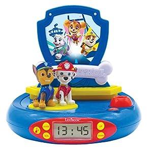 Patrulla Canina Paw Patrol Chase Reloj proyector, Luz de Noche incorporada, proyección de Tiempo en el Techo, Efectos de Sonido, Funciona con batería, Azul/Rojo, Multicolor (Lexibook RP500PA)