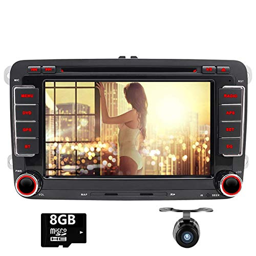 Doppio DIN autoradio CD lettore DVD con touch screen per VW Jetta Golf Skoda Passat sedile polo - Supporto per navigatore GPS, iPod, Swc, USB, SD, AUX, Canbus, telecamera posteriore di parcheggio