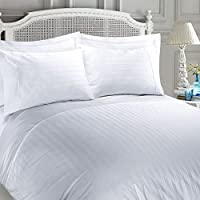 (White, Super_King_Size) - Luxury Soft Hotel Collection 100% Egyptian Cotton 400 Thread Count Dobby Striped Stripe Satin Sateen Embellished Duvet Cover Set (White, Super King Duvet Cover Set)
