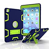 Outdoor Robuste Stoßfest Hülle mit Ständer für Apple iPad Pro 9.7/iPad Air 2 - Aohro 3in1 PC Plastik + Silikon Shockproof Schutzhülle Case Cover Bumper Etui,Navy Blau + Grün