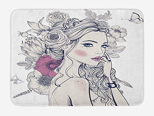CHKWYN Floral Bath Mat, Portrait of a Beautiful Woman with Flowers on Her Hair and Butterflies Pattern, Plush Bathroom Decor Mat with Non Slip Backing, Pearl and White,20X31 inch