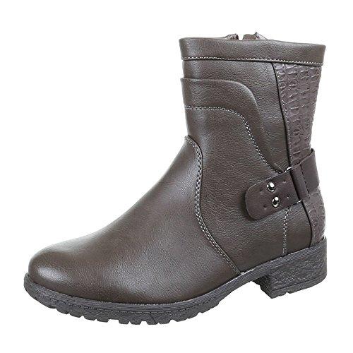 Damen Schuhe Stiefeletten Warm Gefütterte Boots Schwarz Grau 36 38 38 39 40 41 Grau