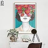 xingbu Kein frameZeroc Nordic Poster Und Drucke Blumenmädchen Porträt Wandkunst Leinwand ng Bilder...