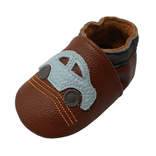Yalion Premium Weich Leder Babyschuhe Krabbelschuhe Lauflernschuhe Hausschuhe mit Auto Braun, 6-12 Monate (Etwas Autos Für)