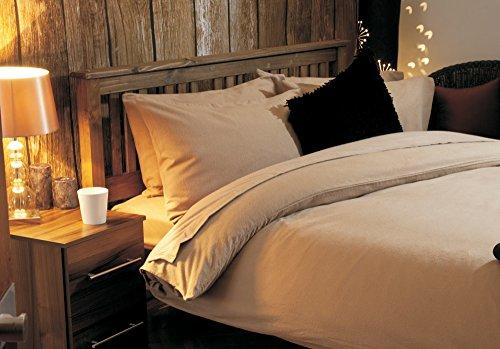 elinens 100% Gebürstete Baumwolle Komplett Set–Bettbezug + 30,5cm Spannbetttuch + Bettlaken + 4Kissenbezüge–Biber Bettwäsche Bundle, 100 % Baumwolle, latte, Einzelbett