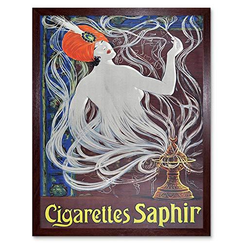 Wee Blue Coo LTD Advertisement Cigarettes Saphir Smoking Turban Nouveau Art Print Framed Poster Wall Decor Kunstdruck Poster Wand-Dekor-12X16 Zoll -